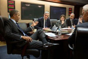 Obama meets with members of his national security team following the Boston Marathon bombings investigation. Pictured, from left, are: FBI Director Robert Mueller; Lisa Monaco, Assistant to the President for Homeland Security and Counterterrorism; Attorney General Eric Holder; Deputy National Security Advisor Tony Blinken; and Vice President Joe Biden.